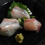 魚と天ぷら 日本酒 まる天 - 造り盛り(たい、しまあじ、かんぱち)