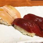 町田肉寿司 - 昆布〆鶏190円、漬け赤身190円