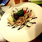 85333476 - 本日の裏メニュー;カンパチのポアレ・春野菜のバルサミコソース¥880