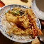うおがし - 天丼 1200円 + ご飯大盛 100円