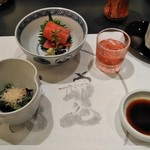 大志満 - [料理] 前菜2種 & 食前酒 (季節のリキュール)