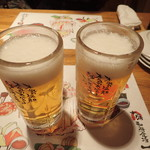 十勝 北海道 浜直活鮮 魚の一心 - ビールで乾杯
