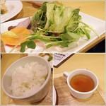 85378291 - サラダ、ライス、スープ
