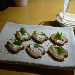 神田 つけ蕎麦 わびすけ - いぶりがっこクリームチーズ