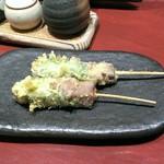 天婦羅割烹 天新 - 米沢牛串天ぷら 下味あり。そのままでも、お塩でも、オススメはタレで。