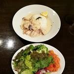 ビルボケ - 鶏肉ときのこのクリーム煮とサラダ