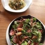 七良兵衛珈琲 - ローストビーフ信州味噌ソースと 野沢菜と山菜のジェノベーゼ