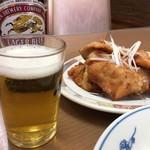 中華料理 五十番 - ビールと鳥唐揚げ