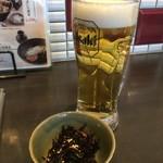石挽蕎麦と炭串焼 一成 - 生ビール550円&お通し