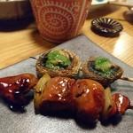 焼とり いぶし坐 - 山芋(こんがり醤油)180円&肝(朝引き)160円