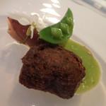 フィオッキ - ホタルイカのフリテッレと緑豆のピュレ;アップ