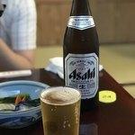 85439530 - 鰻が焼き上がるまでビールを飲んで待ちます。