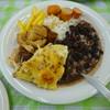 レストランテ ミネイロ トレン バウン - 料理写真:主人の盛り ライスにフェイジャオンをかけてあります。手前がラザニア 9時の方向に、鶏肉と牛肉 12時の方向に煮たソーセージ