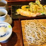 玄庵 ながせ - 春野菜天せいろ 1,500円(写真の海老の天ぷらは、一緒に行った人からもらったもの。本来は付きません)