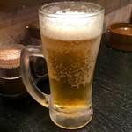 ピエールブランシュ - 「一口生ビール」(200円)。小ジョッキ相当。