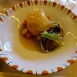 85479112 - 煮物「かぼちゃ饅頭 あわび土佐煮 紅タピオカ 水菜 被せ蕪 扇糝薯」