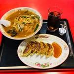満州飯店 - 辛みそラーメン  餃子  アイスコーヒー