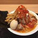 縄麺 男山 - 火山ラーメン        特製マグマソースと10種のスパイス使用