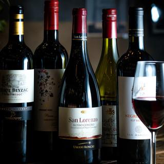 厳選した、ワインやシャンパーニュを取り揃えております。