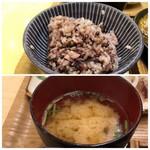 はーべすと - ◆十六穀米とお味噌汁・・どちらもお代わり可能。
