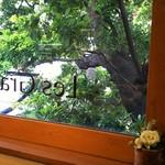 レ・グラン・ザルブル - カフェの窓越し さりげなくお花が飾られてます