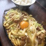 上州屋 - 料理写真:カレー焼きうどん・ライスのコラボ