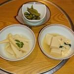 85558537 - 小鉢(若竹煮・高野豆腐・枝豆)