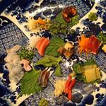 神楽坂友野 - お造り  星鰈、関鯖、鮪の中トロ、鮪の赤身、子持ち昆布、蒸し鮑、青柳、鰹、蛸の桜煮