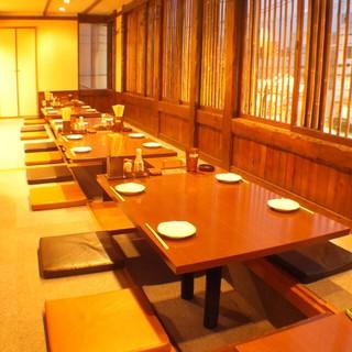 テーブル席、掘りごたつ席、個室と完備!