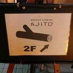 渋谷貸切パーティースペース アジト ワンダーダイニング - 階段の前にある看板