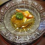 8558804 - 先付、湯葉豆腐・鰻・オクラ・とろろ・美味出しジュレ、ダレシ