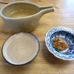 手打そば 乃田 - 片野桜 純米吟醸、味噌