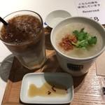 スープストックトーキョーカフェ - スープ&ドリンクセット 豚肉と半熟玉子のタイ風粥 アイスカフェオーレ
