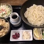 85595138 - 鳥飯×うどんセット(温ぶっかけうどん) ¥750
