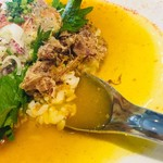 85600498 - この黄色いスープは、カレー風味カツオ餡だと誰がわかるのか