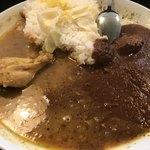 辛口飯屋 森元 - チキンとビーフのあいがけをお代わりで!!
