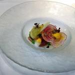 85630550 - 季節の冷前菜                       富山県産ホタルイカと初夏野菜 青トマトのジュレ