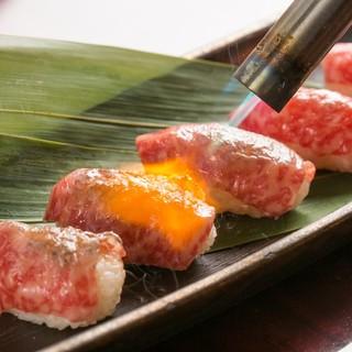 【人気No.1】A4黒毛和牛の炙り肉寿司