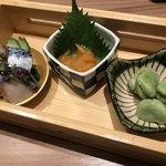 ワイン・寿司・天ぷら 魚が肴 - 金華鯖の生ハム仕立て・ばくらい・そら豆