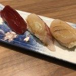 ワイン・寿司・天ぷら 魚が肴 - 鮪、真鯛、帆立