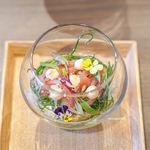 オステリア イタリアーナ コバ - 料理写真:桜海老とセミドライトマトとハマグリのマリネ 桜海老ムース