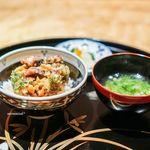 御料理 堀川 - かき揚げ丼 お味噌汁 香の物