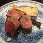 京かのこ - 下野牛のサーロインと焼き竹の子