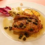 ピッツェリア・サバティーニ - 若鳥もも肉のカリカリクロカンテソテー焦しケッパーバターソース