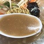 湯村食堂 - みそラーメンのスープ
