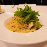 ビアンカーネ - 鶏モモ、セルヴァチコ、チェリートマト、スパゲティ