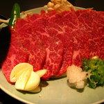 857294 - 陶板焼き定食2900円の肉。 あっさりした霜降り肉です