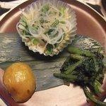 和楽 酔竹 - 酢の物、菜とじゃがいもの煮物
