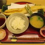 天ぷら やす田 - 穴子天定食@1200円(税込み)