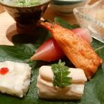 小熊 - 「白ダツ胡麻合え」「茗荷寿司」「棒子」「平目煮こごり」